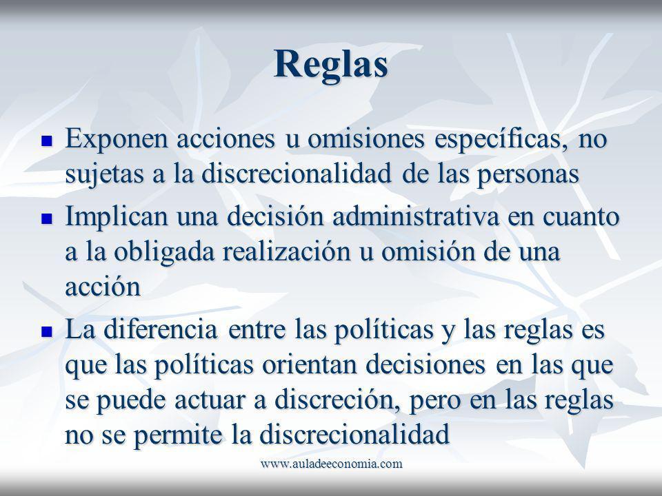 www.auladeeconomia.com Reglas Exponen acciones u omisiones específicas, no sujetas a la discrecionalidad de las personas Exponen acciones u omisiones