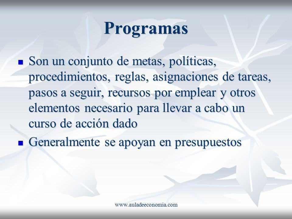 www.auladeeconomia.com Programas Son un conjunto de metas, políticas, procedimientos, reglas, asignaciones de tareas, pasos a seguir, recursos por emp