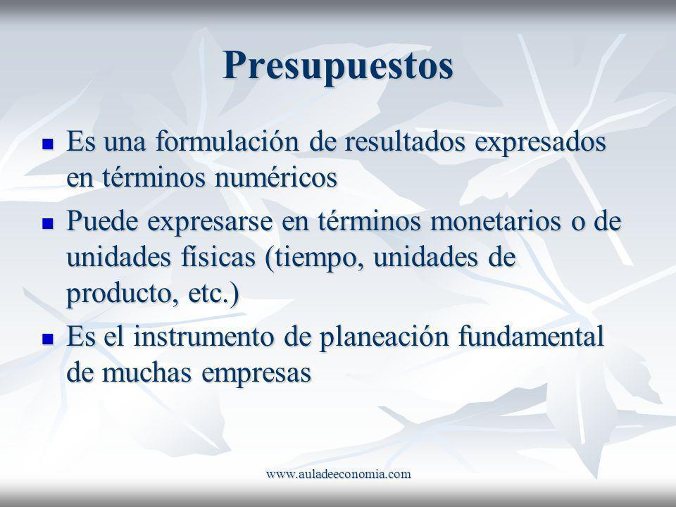 www.auladeeconomia.com Presupuestos Es una formulación de resultados expresados en términos numéricos Es una formulación de resultados expresados en t