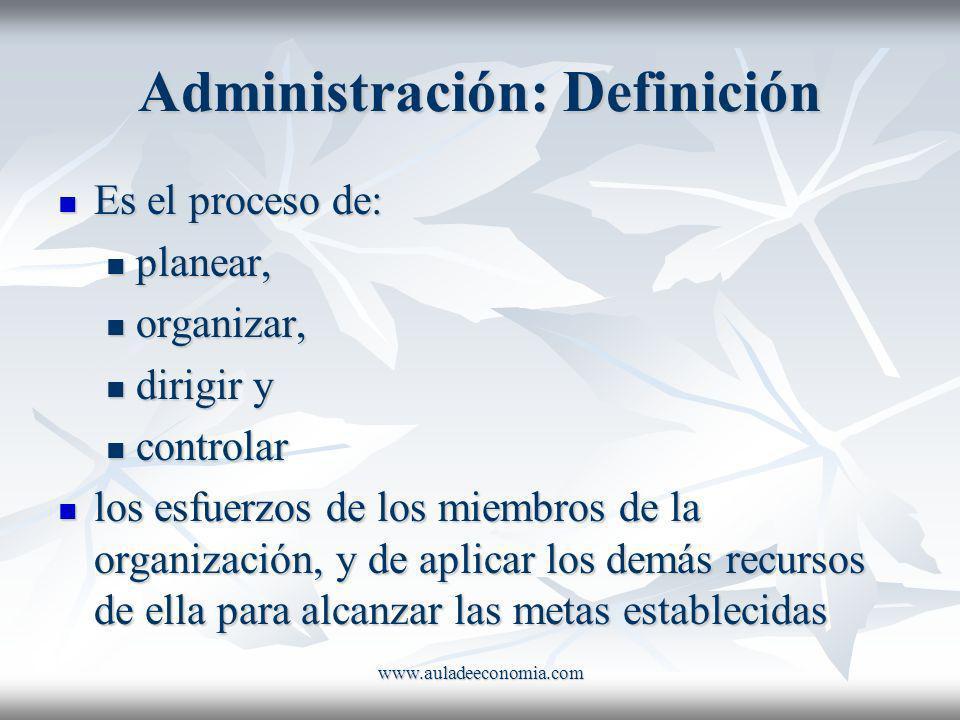 www.auladeeconomia.com Administración: Definición Es el proceso de: Es el proceso de: planear, planear, organizar, organizar, dirigir y dirigir y cont