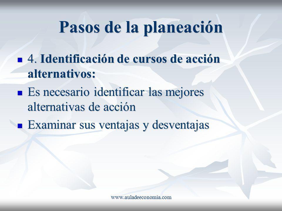 www.auladeeconomia.com Pasos de la planeación 4. Identificación de cursos de acción alternativos: 4. Identificación de cursos de acción alternativos: