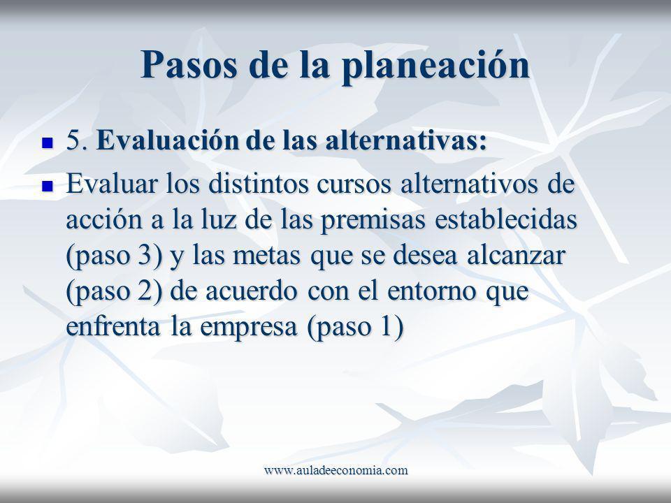 www.auladeeconomia.com Pasos de la planeación 5. Evaluación de las alternativas: 5. Evaluación de las alternativas: Evaluar los distintos cursos alter