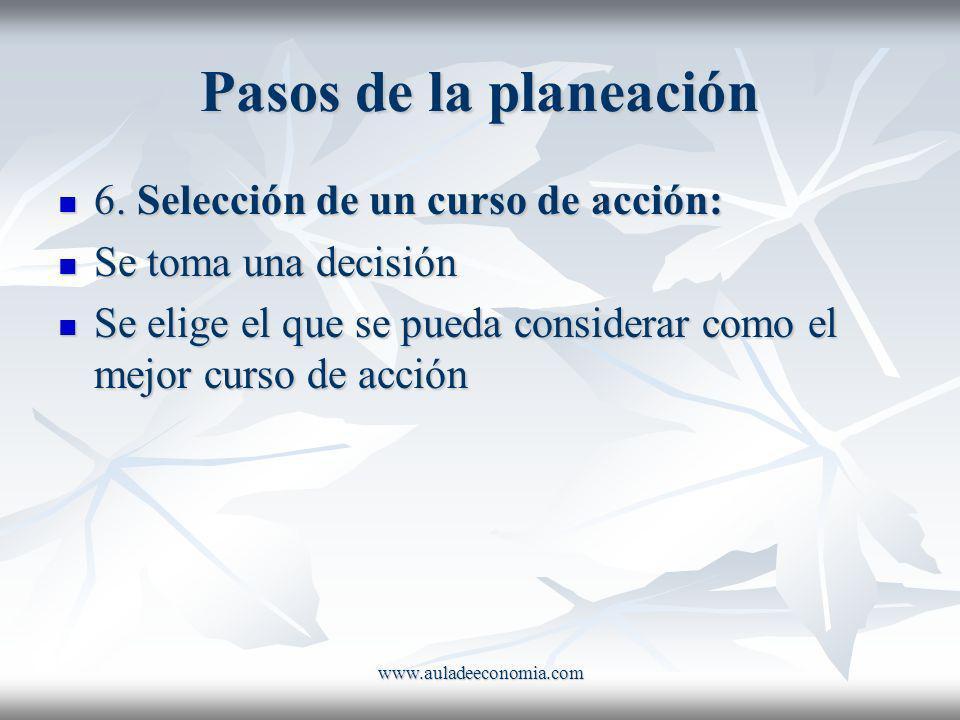 www.auladeeconomia.com Pasos de la planeación 6. Selección de un curso de acción: 6. Selección de un curso de acción: Se toma una decisión Se toma una