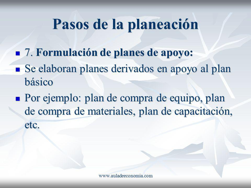www.auladeeconomia.com Pasos de la planeación 7. Formulación de planes de apoyo: 7. Formulación de planes de apoyo: Se elaboran planes derivados en ap
