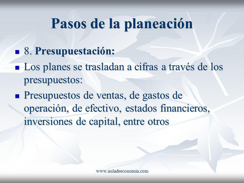 www.auladeeconomia.com Pasos de la planeación 8. Presupuestación: 8. Presupuestación: Los planes se trasladan a cifras a través de los presupuestos: L