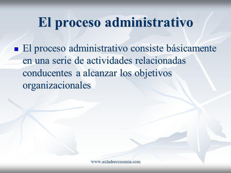 www.auladeeconomia.com El proceso administrativo El proceso administrativo consiste básicamente en una serie de actividades relacionadas conducentes a