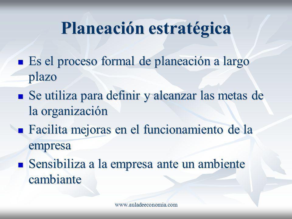 www.auladeeconomia.com Planeación estratégica Es el proceso formal de planeación a largo plazo Es el proceso formal de planeación a largo plazo Se uti