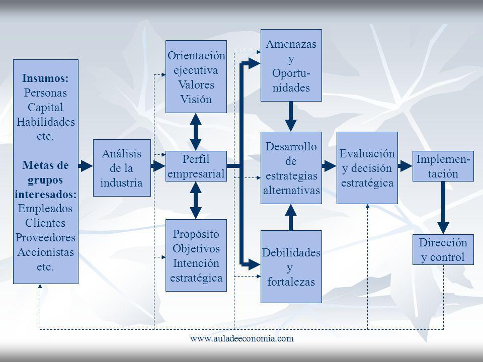 www.auladeeconomia.com Insumos: Personas Capital Habilidades etc. Metas de grupos interesados: Empleados Clientes Proveedores Accionistas etc. Análisi