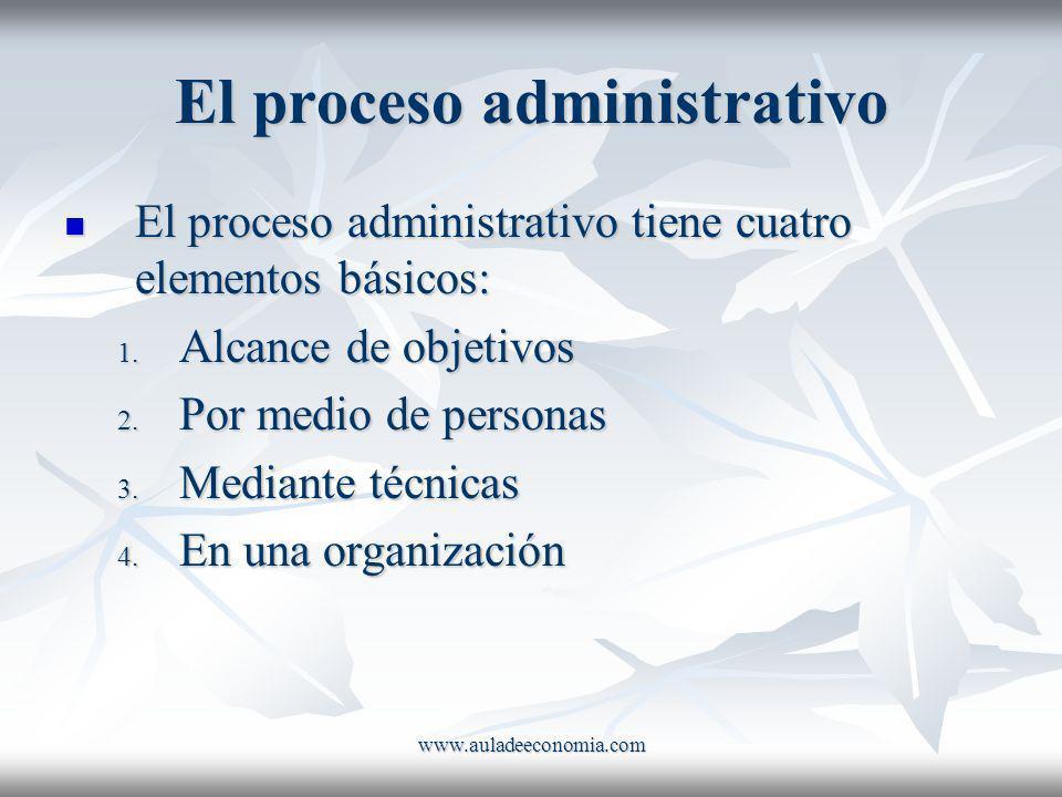 www.auladeeconomia.com El proceso administrativo El proceso administrativo tiene cuatro elementos básicos: El proceso administrativo tiene cuatro elem