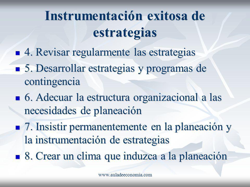 www.auladeeconomia.com Instrumentación exitosa de estrategias 4. Revisar regularmente las estrategias 4. Revisar regularmente las estrategias 5. Desar