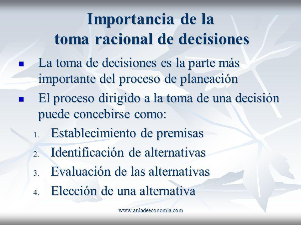 www.auladeeconomia.com Importancia de la toma racional de decisiones La toma de decisiones es la parte más importante del proceso de planeación La tom