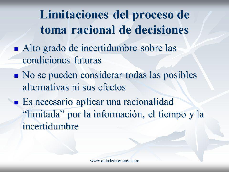 www.auladeeconomia.com Limitaciones del proceso de toma racional de decisiones Alto grado de incertidumbre sobre las condiciones futuras Alto grado de