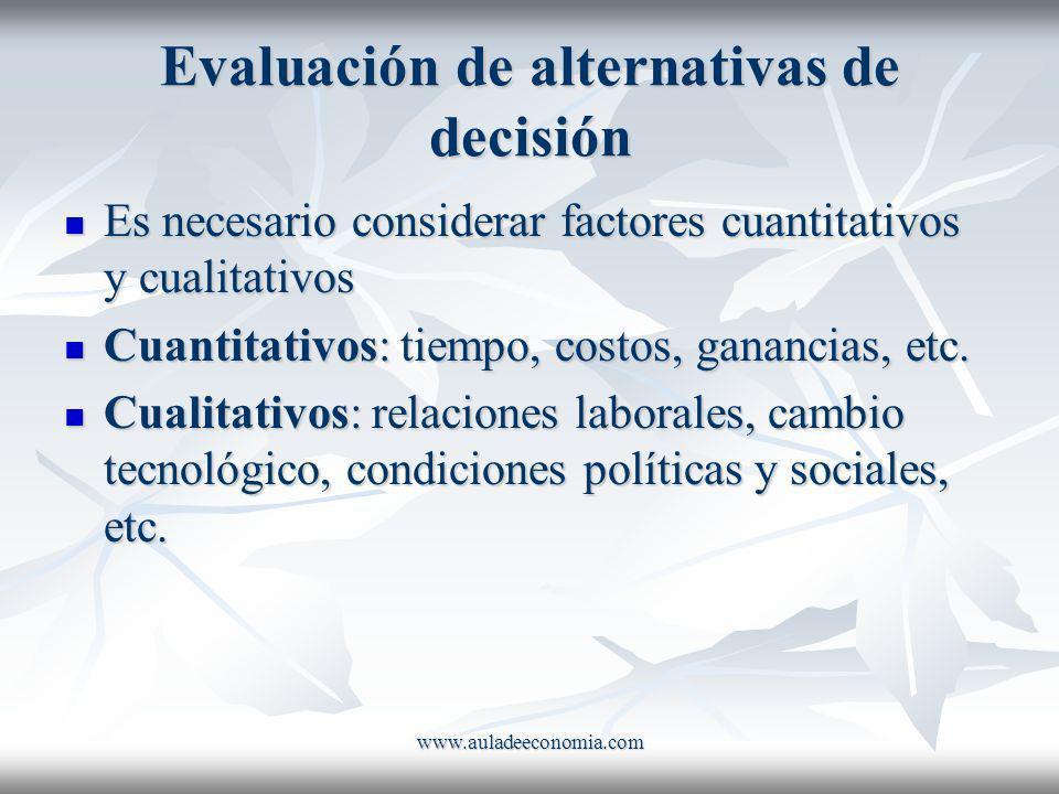 www.auladeeconomia.com Evaluación de alternativas de decisión Es necesario considerar factores cuantitativos y cualitativos Es necesario considerar fa