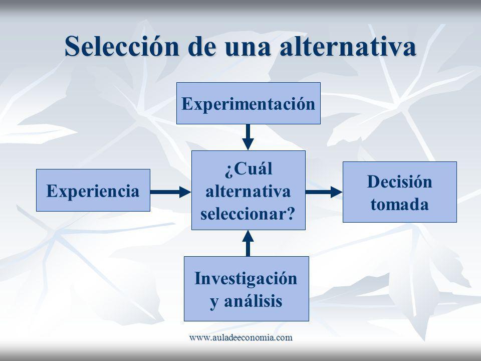 www.auladeeconomia.com Selección de una alternativa Experiencia Experimentación Investigación y análisis ¿Cuál alternativa seleccionar? Decisión tomad