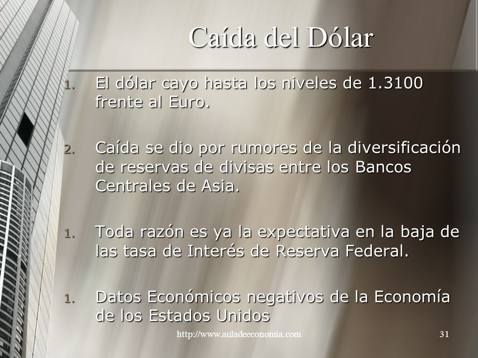 http://www.auladeeconomia.com31 Caída del Dólar 1. El dólar cayo hasta los niveles de 1.3100 frente al Euro. 2. Caída se dio por rumores de la diversi