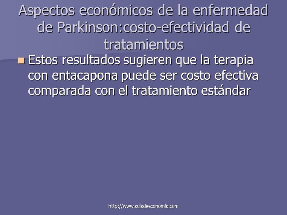 http://www.auladeeconomia.com Aspectos económicos de la enfermedad de Parkinson:costo-efectividad de tratamientos Estos resultados sugieren que la ter