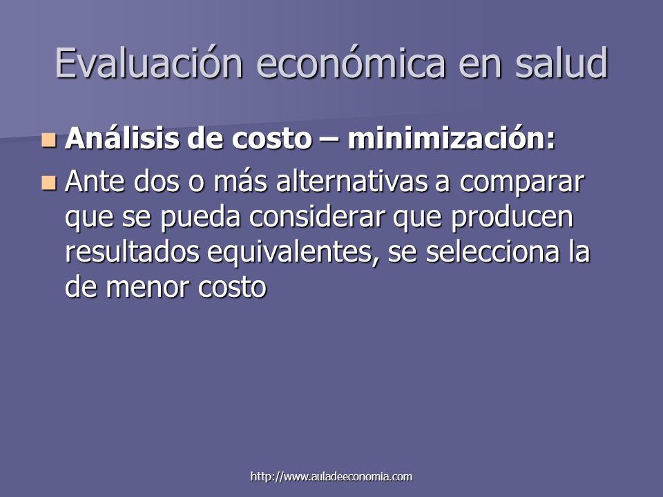 http://www.auladeeconomia.com Evaluación económica en salud Análisis de costo – minimización: Análisis de costo – minimización: Ante dos o más alterna
