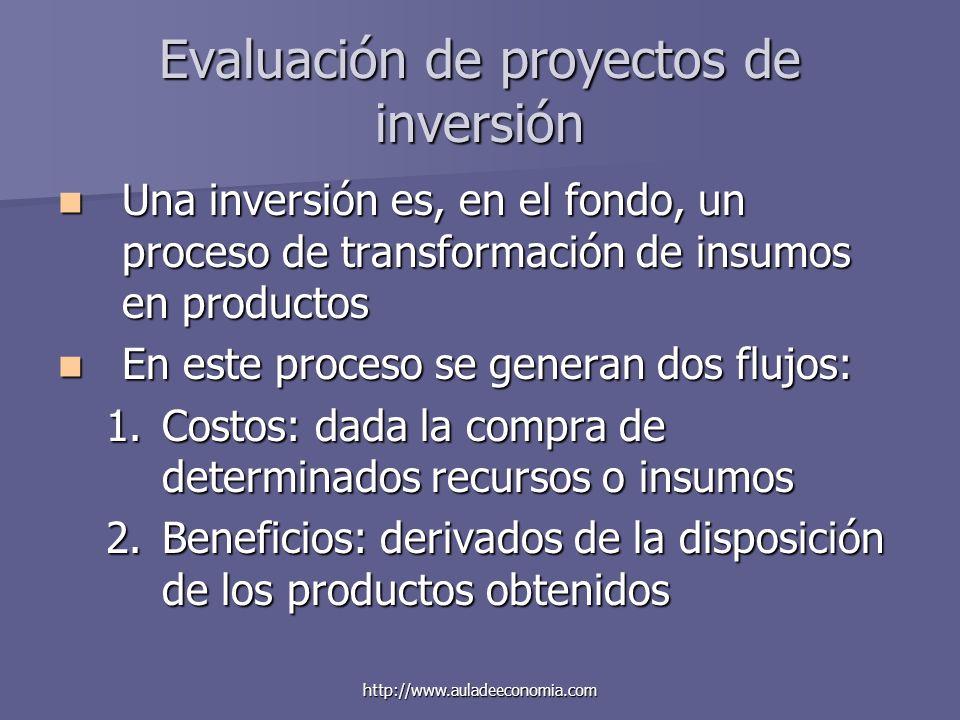 http://www.auladeeconomia.com Evaluación de proyectos de inversión Una inversión es, en el fondo, un proceso de transformación de insumos en productos