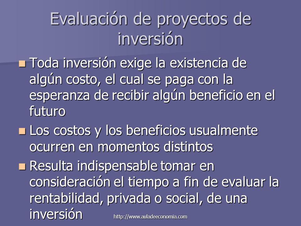 http://www.auladeeconomia.com Evaluación de proyectos de inversión Toda inversión exige la existencia de algún costo, el cual se paga con la esperanza