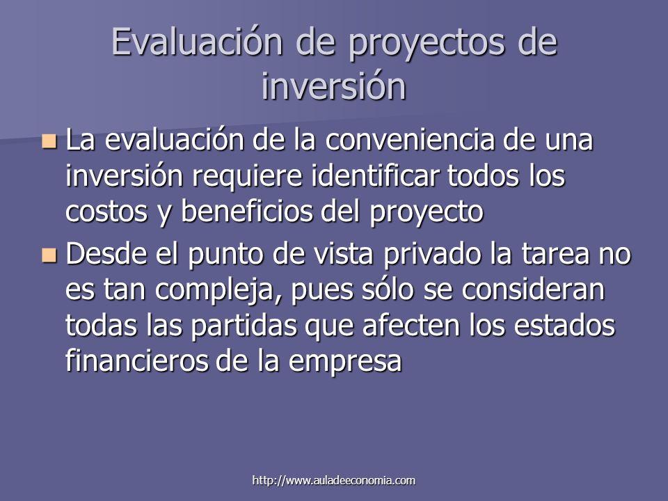 http://www.auladeeconomia.com Evaluación de proyectos de inversión La evaluación de la conveniencia de una inversión requiere identificar todos los co