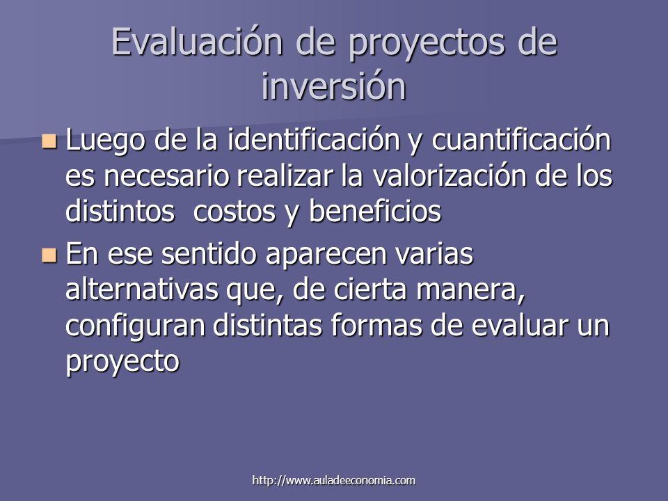 http://www.auladeeconomia.com Evaluación de proyectos de inversión Luego de la identificación y cuantificación es necesario realizar la valorización d