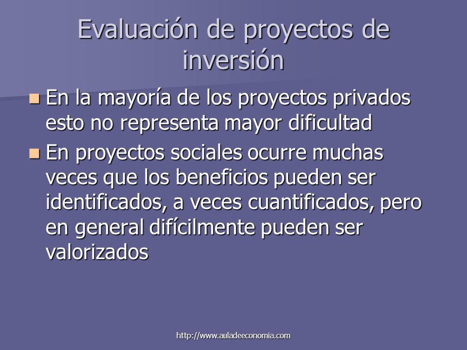 http://www.auladeeconomia.com Evaluación de proyectos de inversión En la mayoría de los proyectos privados esto no representa mayor dificultad En la m