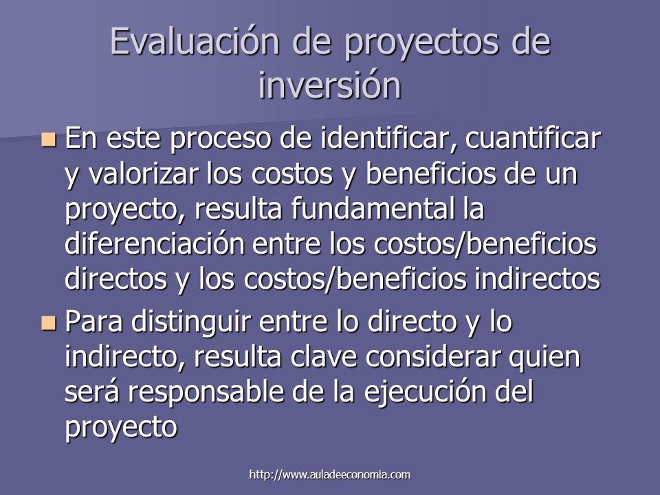 http://www.auladeeconomia.com Evaluación de proyectos de inversión En este proceso de identificar, cuantificar y valorizar los costos y beneficios de