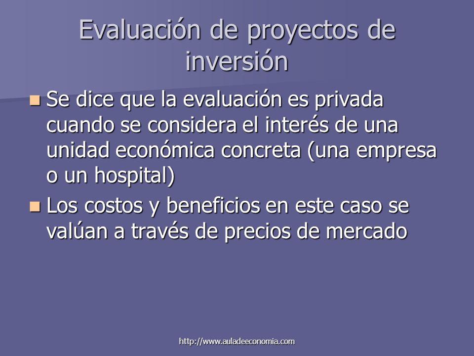 http://www.auladeeconomia.com Evaluación de proyectos de inversión Se dice que la evaluación es privada cuando se considera el interés de una unidad e
