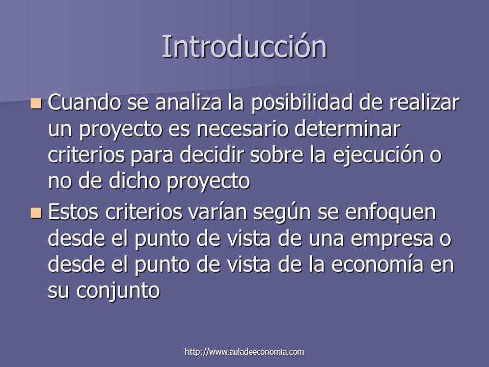 http://www.auladeeconomia.com Introducción Cuando se analiza la posibilidad de realizar un proyecto es necesario determinar criterios para decidir sob