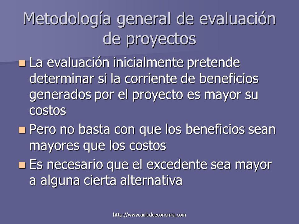 http://www.auladeeconomia.com Metodología general de evaluación de proyectos La evaluación inicialmente pretende determinar si la corriente de benefic