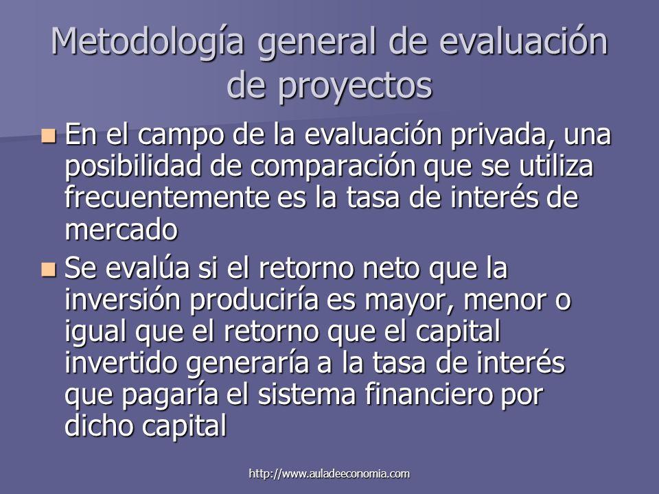 http://www.auladeeconomia.com Metodología general de evaluación de proyectos En el campo de la evaluación privada, una posibilidad de comparación que