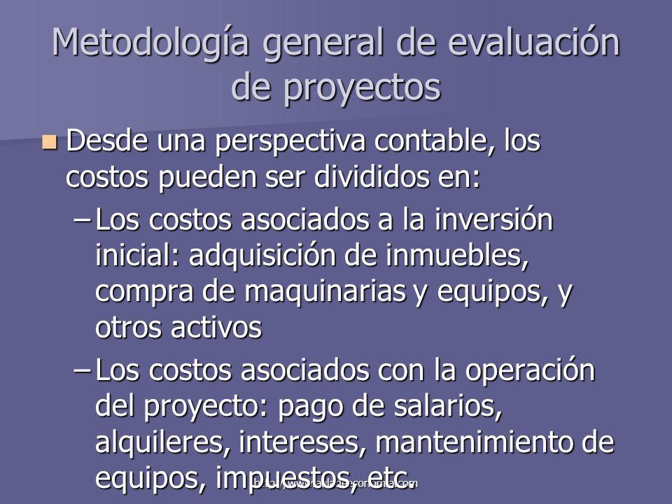 http://www.auladeeconomia.com Metodología general de evaluación de proyectos Desde una perspectiva contable, los costos pueden ser divididos en: Desde