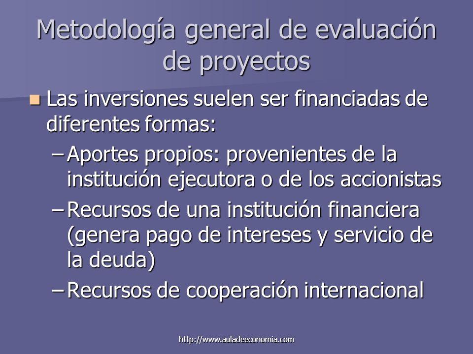 http://www.auladeeconomia.com Metodología general de evaluación de proyectos Las inversiones suelen ser financiadas de diferentes formas: Las inversio