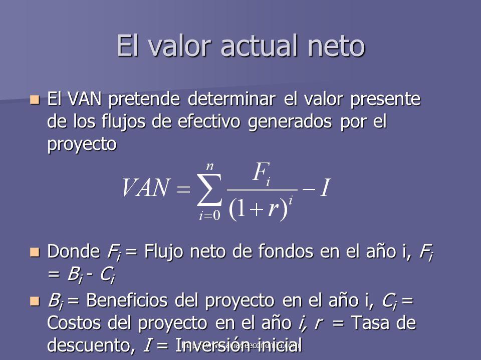 http://www.auladeeconomia.com El valor actual neto El VAN pretende determinar el valor presente de los flujos de efectivo generados por el proyecto El