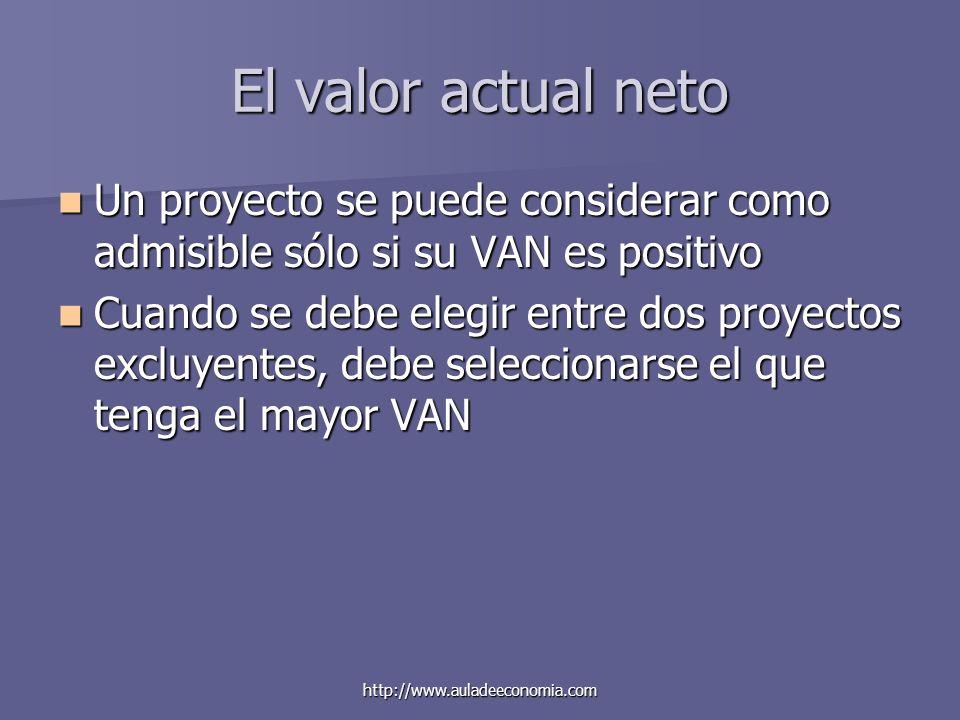 http://www.auladeeconomia.com El valor actual neto Un proyecto se puede considerar como admisible sólo si su VAN es positivo Un proyecto se puede cons