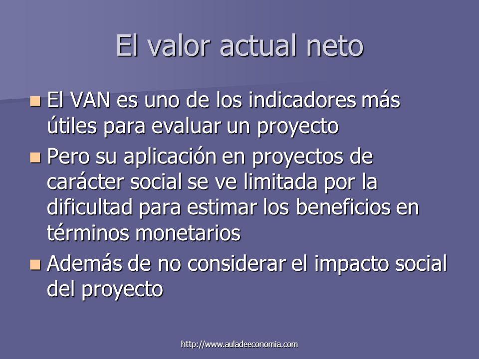 http://www.auladeeconomia.com El valor actual neto El VAN es uno de los indicadores más útiles para evaluar un proyecto El VAN es uno de los indicador