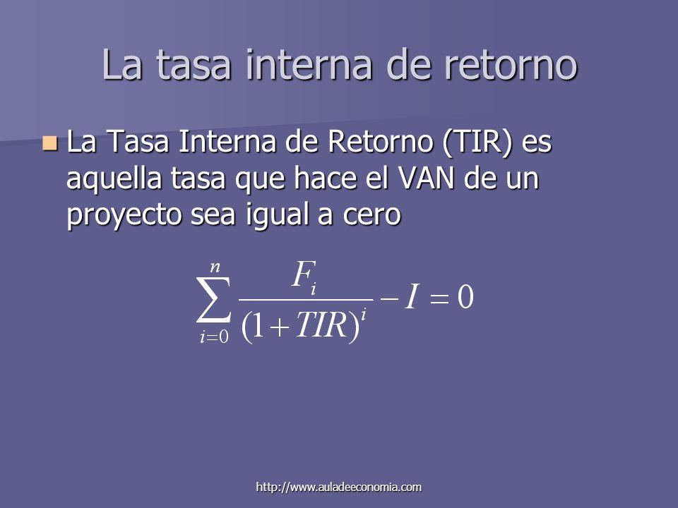 http://www.auladeeconomia.com La tasa interna de retorno La Tasa Interna de Retorno (TIR) es aquella tasa que hace el VAN de un proyecto sea igual a c