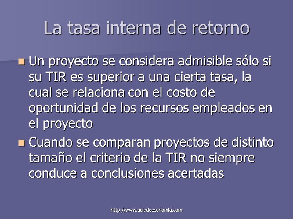 http://www.auladeeconomia.com La tasa interna de retorno Un proyecto se considera admisible sólo si su TIR es superior a una cierta tasa, la cual se r