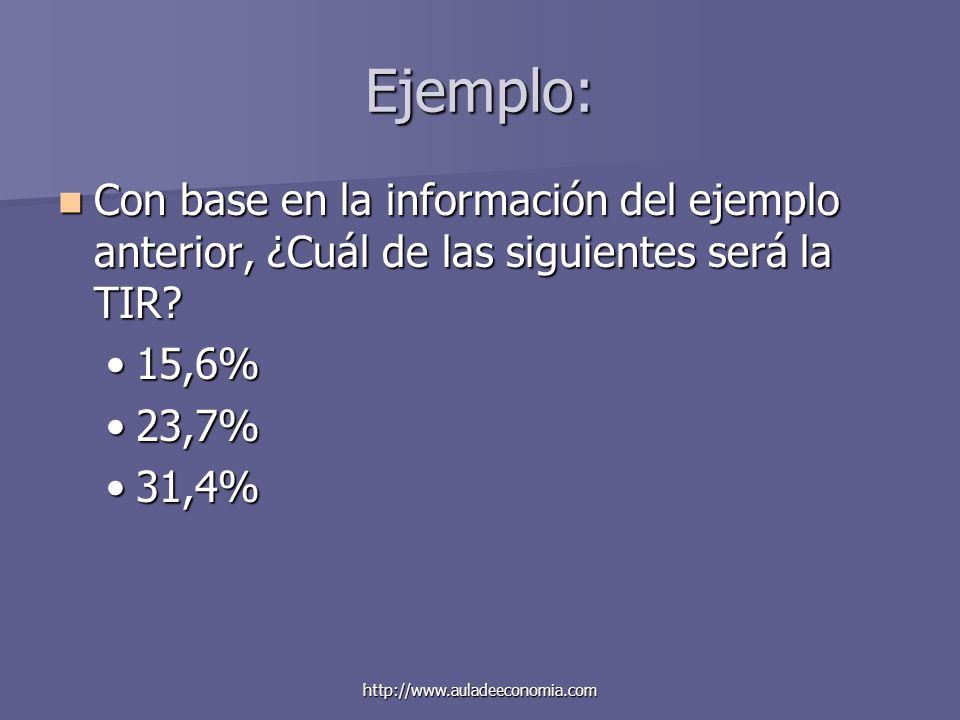 http://www.auladeeconomia.com Ejemplo: Con base en la información del ejemplo anterior, ¿Cuál de las siguientes será la TIR? Con base en la informació