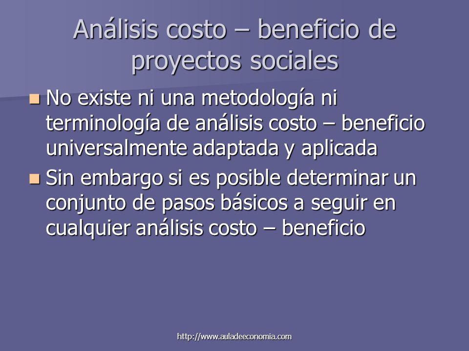 http://www.auladeeconomia.com Análisis costo – beneficio de proyectos sociales No existe ni una metodología ni terminología de análisis costo – benefi