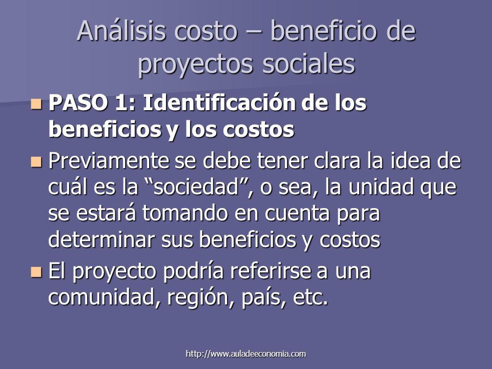 http://www.auladeeconomia.com Análisis costo – beneficio de proyectos sociales PASO 1: Identificación de los beneficios y los costos PASO 1: Identific