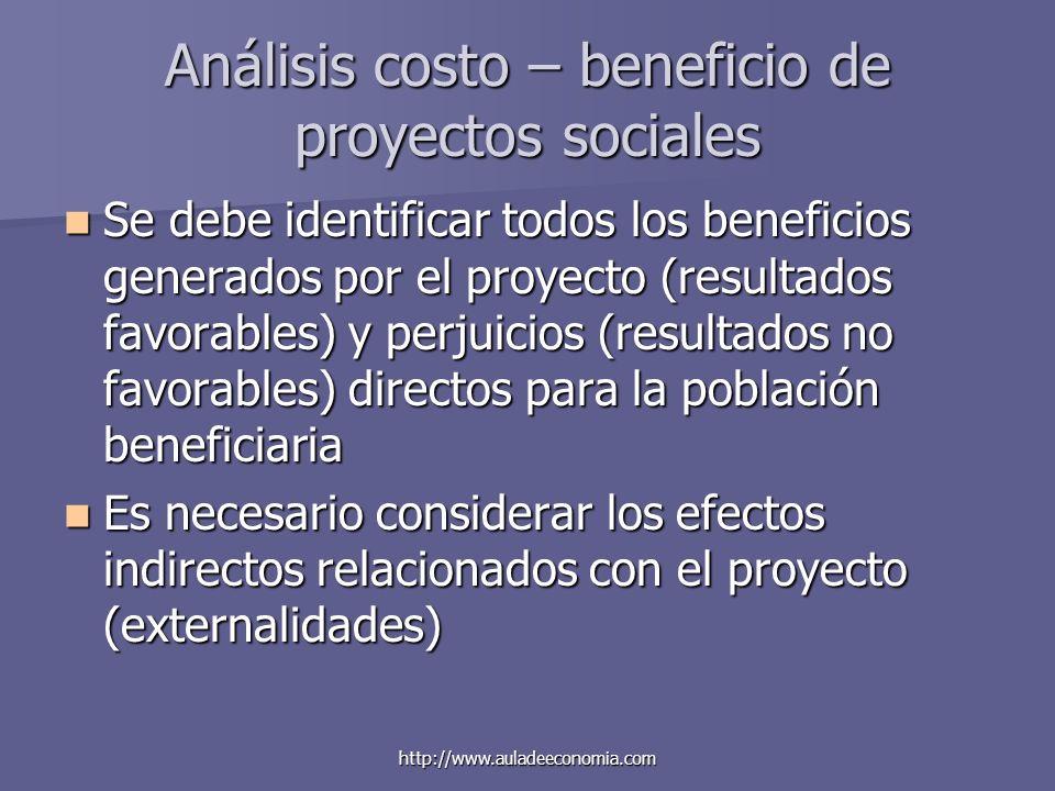 http://www.auladeeconomia.com Análisis costo – beneficio de proyectos sociales Se debe identificar todos los beneficios generados por el proyecto (res