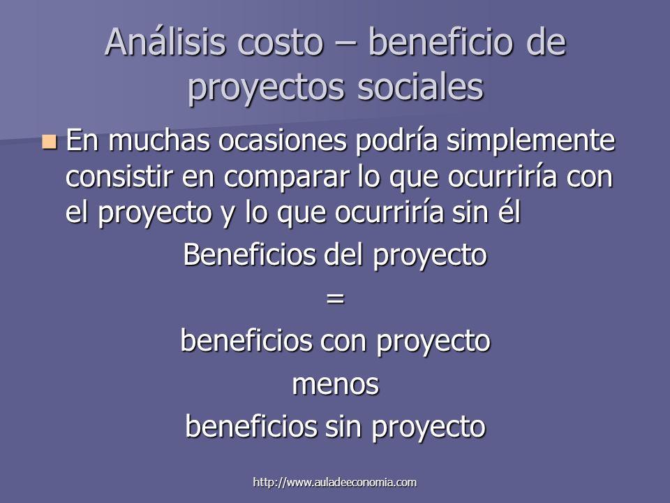 http://www.auladeeconomia.com Análisis costo – beneficio de proyectos sociales En muchas ocasiones podría simplemente consistir en comparar lo que ocu