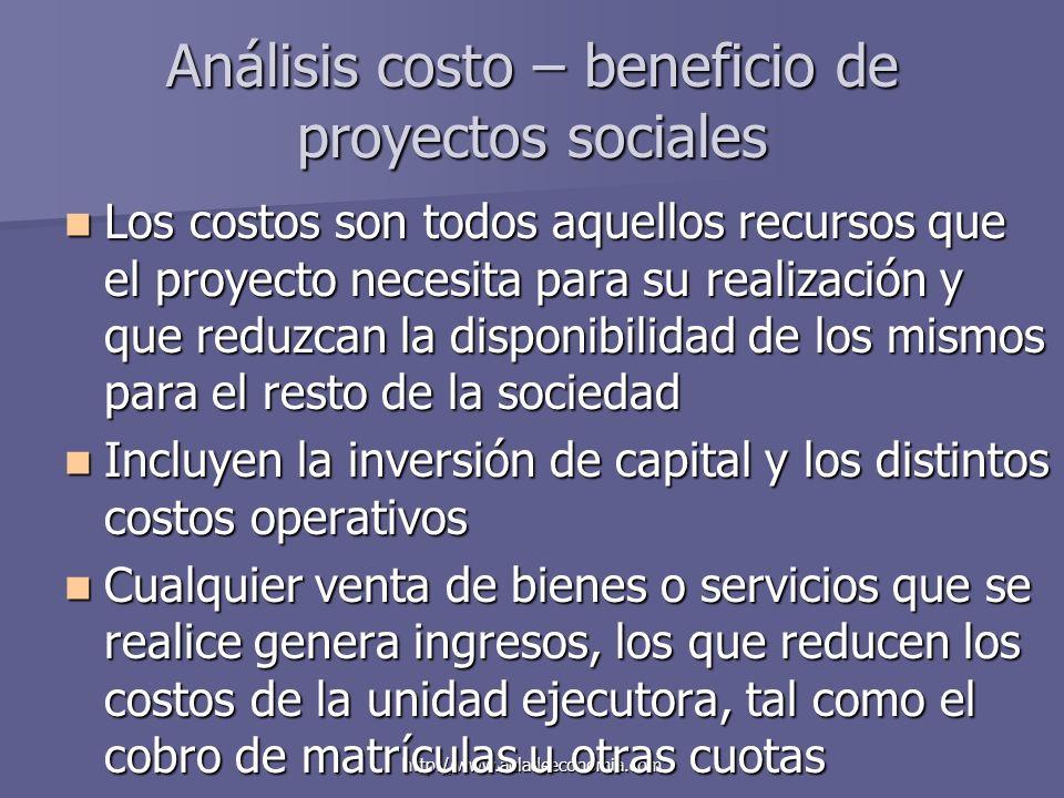 http://www.auladeeconomia.com Análisis costo – beneficio de proyectos sociales Los costos son todos aquellos recursos que el proyecto necesita para su
