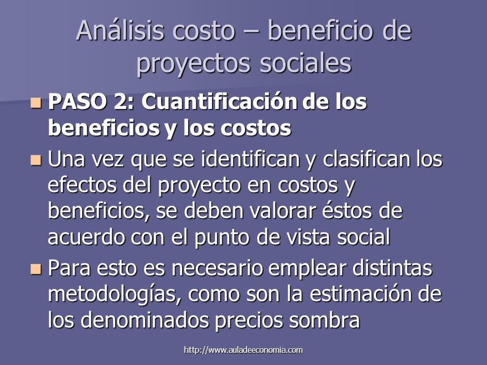 http://www.auladeeconomia.com Análisis costo – beneficio de proyectos sociales PASO 2: Cuantificación de los beneficios y los costos PASO 2: Cuantific
