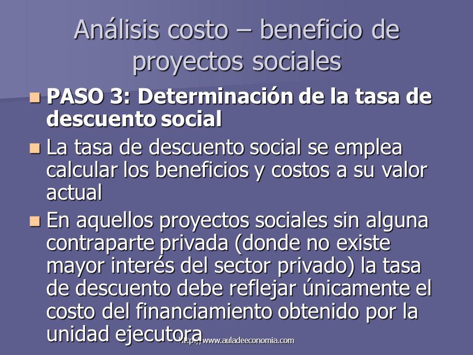 http://www.auladeeconomia.com Análisis costo – beneficio de proyectos sociales PASO 3: Determinación de la tasa de descuento social PASO 3: Determinac
