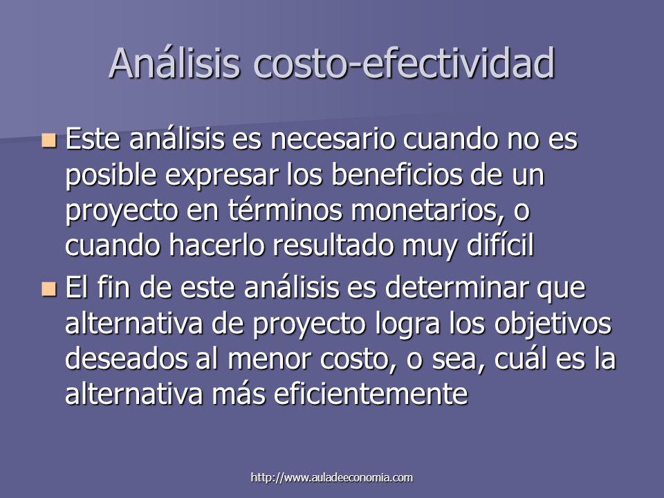 http://www.auladeeconomia.com Análisis costo-efectividad Este análisis es necesario cuando no es posible expresar los beneficios de un proyecto en tér