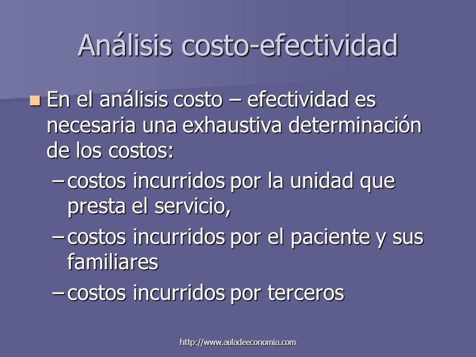 http://www.auladeeconomia.com Análisis costo-efectividad En el análisis costo – efectividad es necesaria una exhaustiva determinación de los costos: E