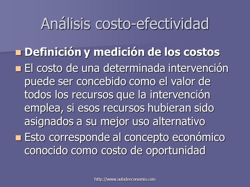 http://www.auladeeconomia.com Análisis costo-efectividad Definición y medición de los costos Definición y medición de los costos El costo de una deter
