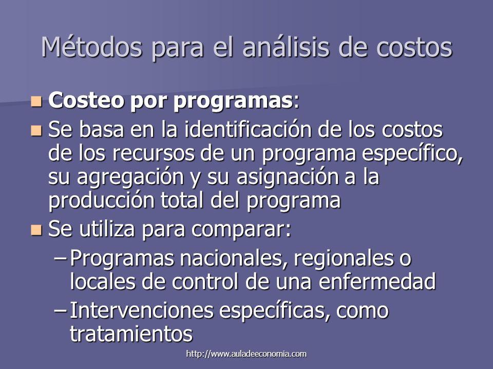 http://www.auladeeconomia.com Métodos para el análisis de costos Costeo por programas: Costeo por programas: Se basa en la identificación de los costo